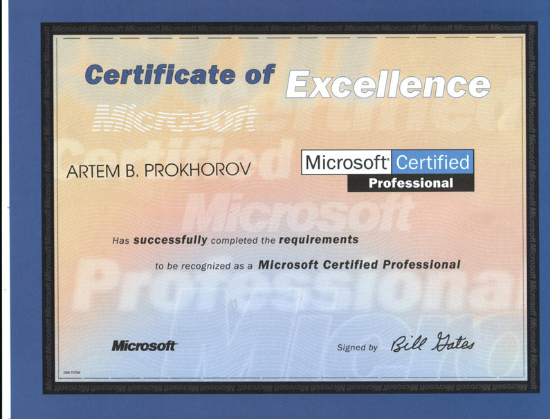 Artem Prokhorovs Certification